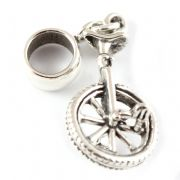 Unicycle Sterling Silver Dangle Charm / Carrier Bead